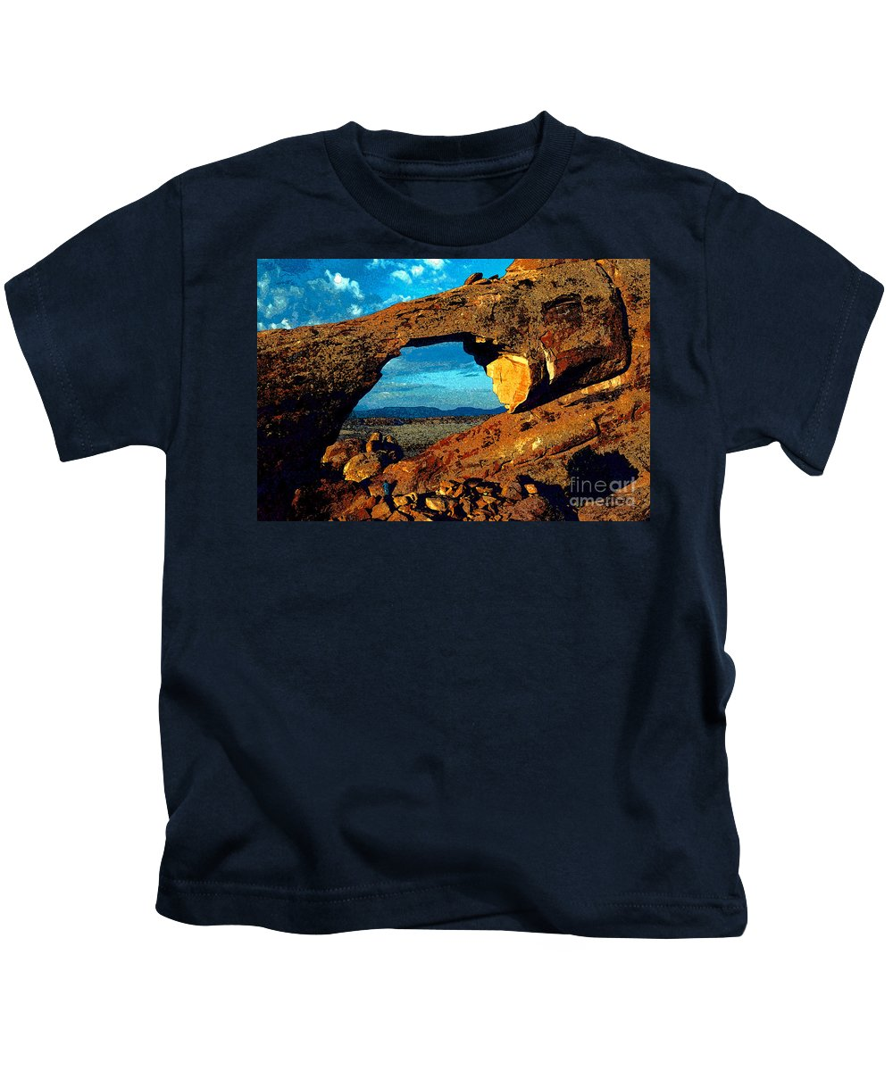Landscape Arch Kids T-Shirt featuring the painting Morning At Landscape Arch by David Lee Thompson