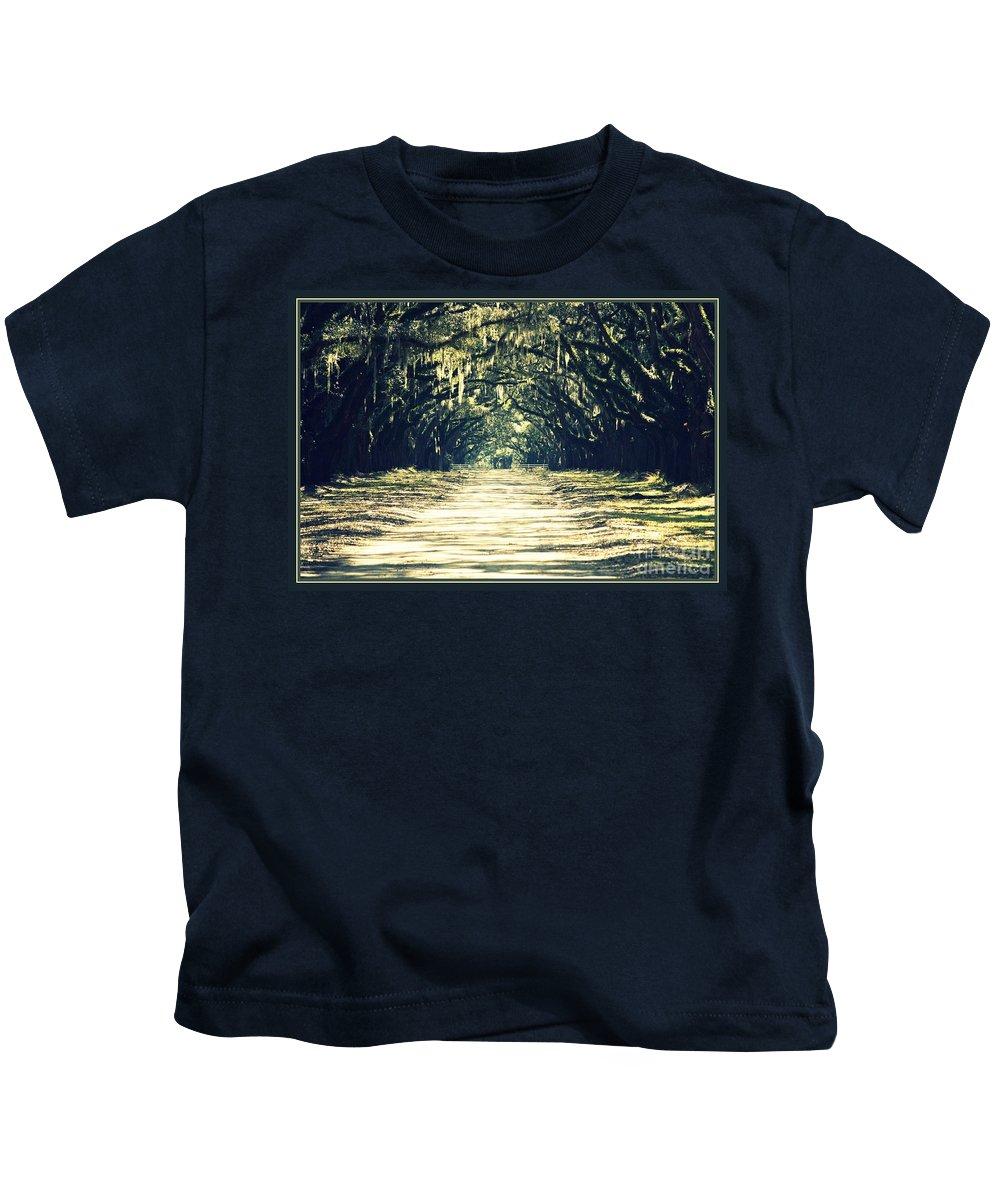 Savannah Kids T-Shirt featuring the photograph Moss Green Road by Carol Groenen