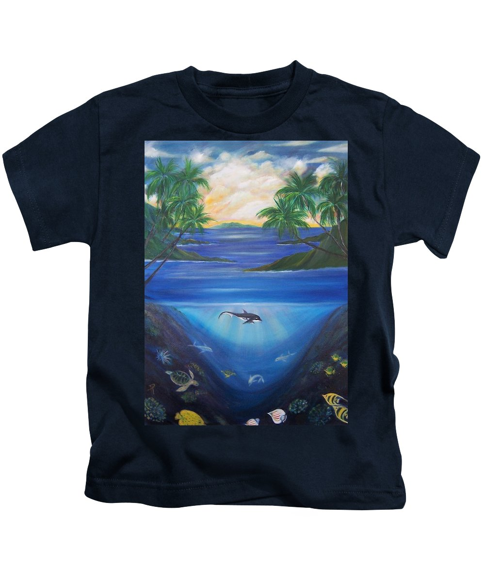 Seascape Kids T-Shirt featuring the painting Mother And Baby by Dina Holland