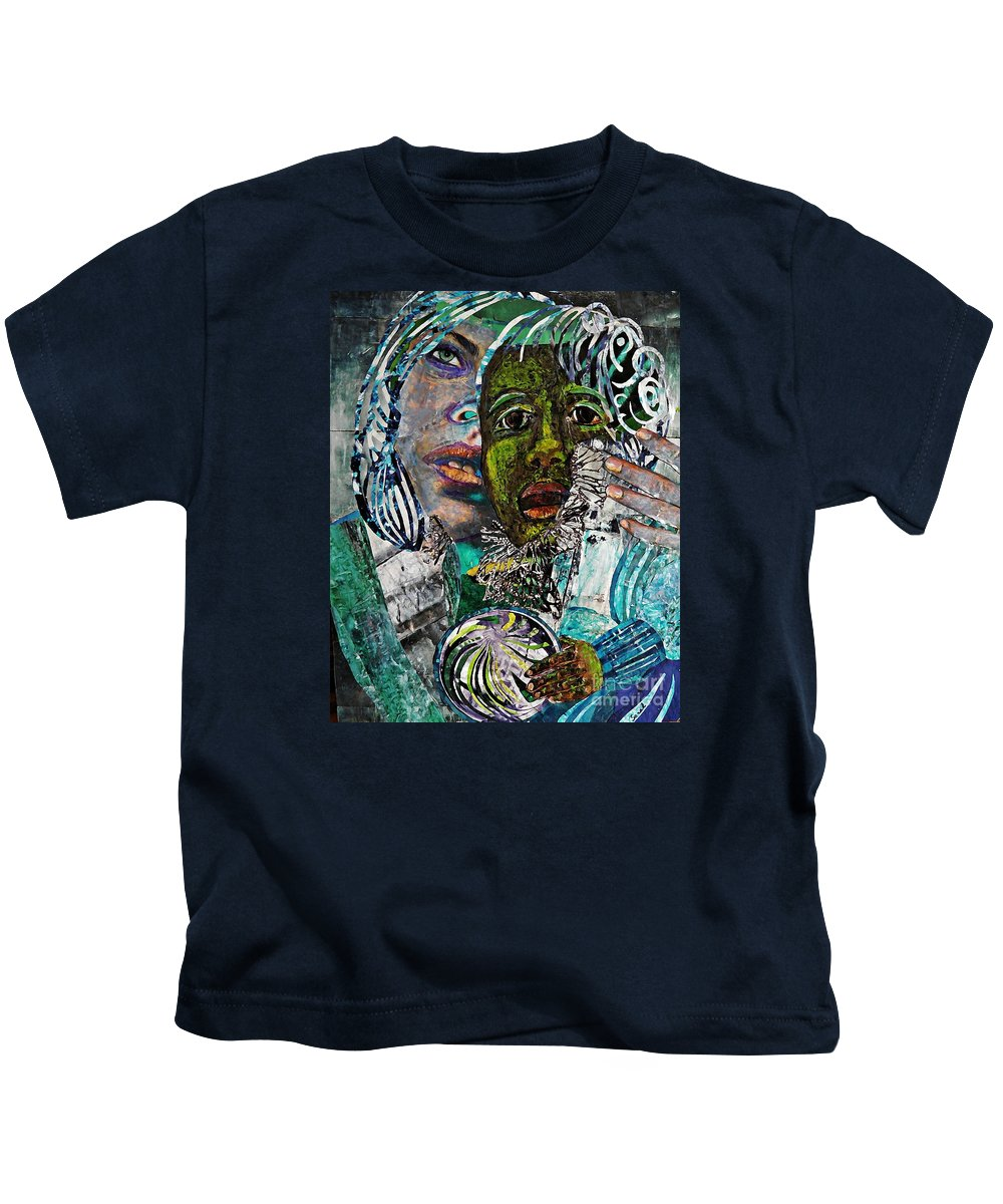 Mother And Child Kids T-Shirt featuring the mixed media Mother And Child by Sarah Loft