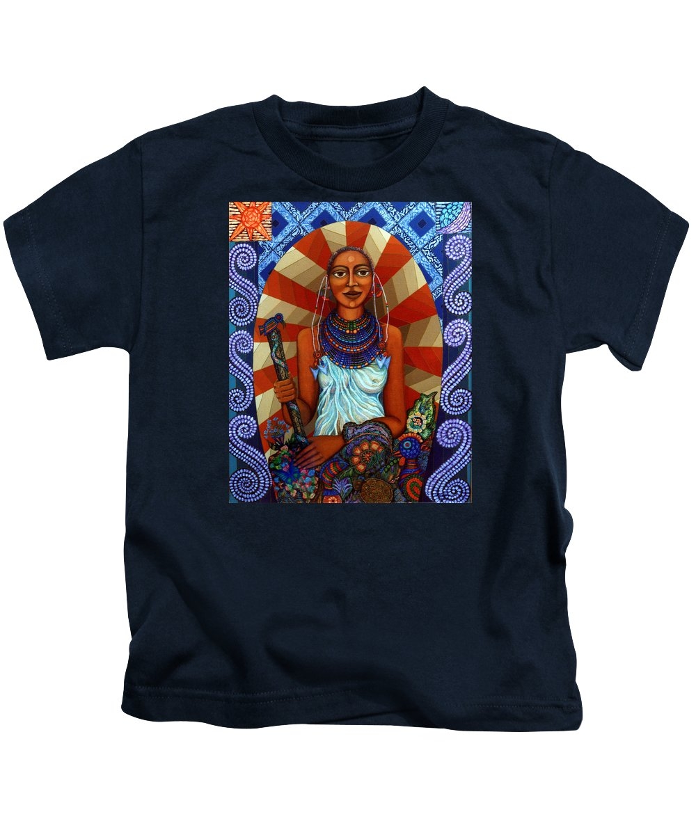 Mother Earth Kids T-Shirt featuring the painting Mother Earth by Madalena Lobao-Tello