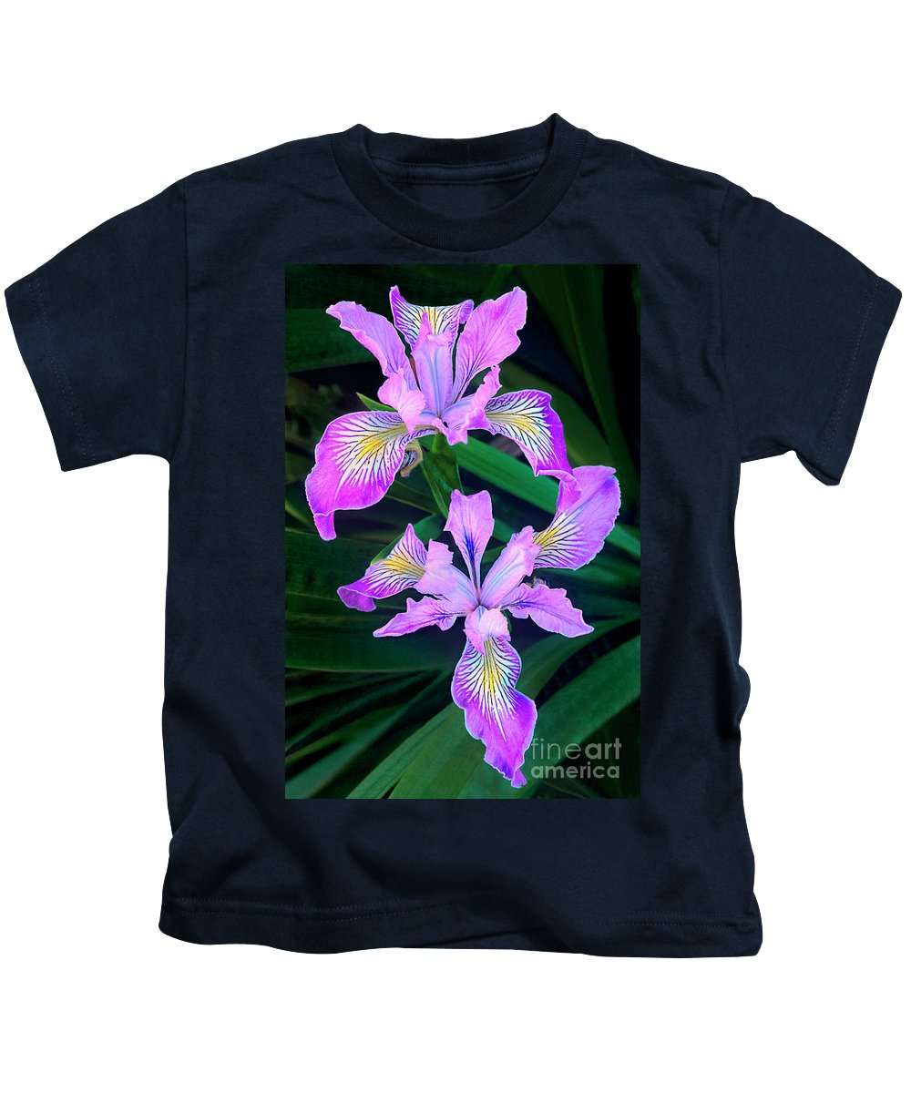California Wildflower Kids T-Shirt featuring the photograph Mountain Iris In Flower California by Dave Welling