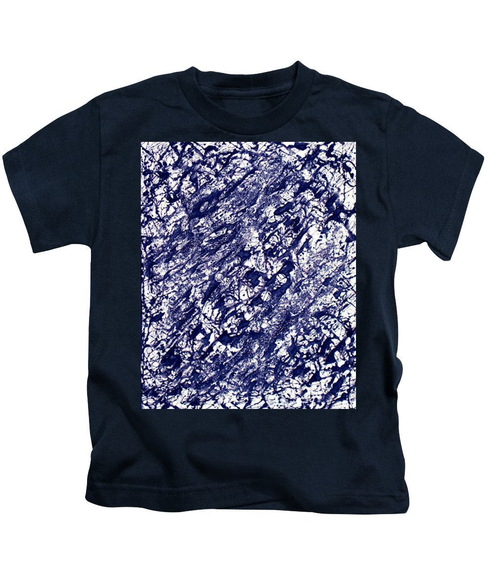 Moveonart! Digital Gallery Kids T-Shirt featuring the painting Moveonart Black And White Textured 2 by Jacob Kanduch