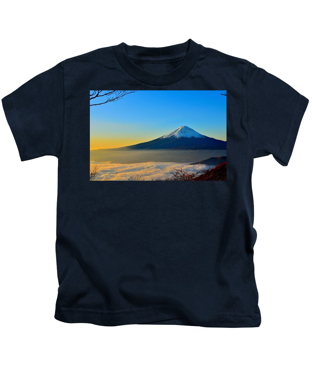 Kids T-Shirt featuring the photograph Mt. Fugi by Anthony May