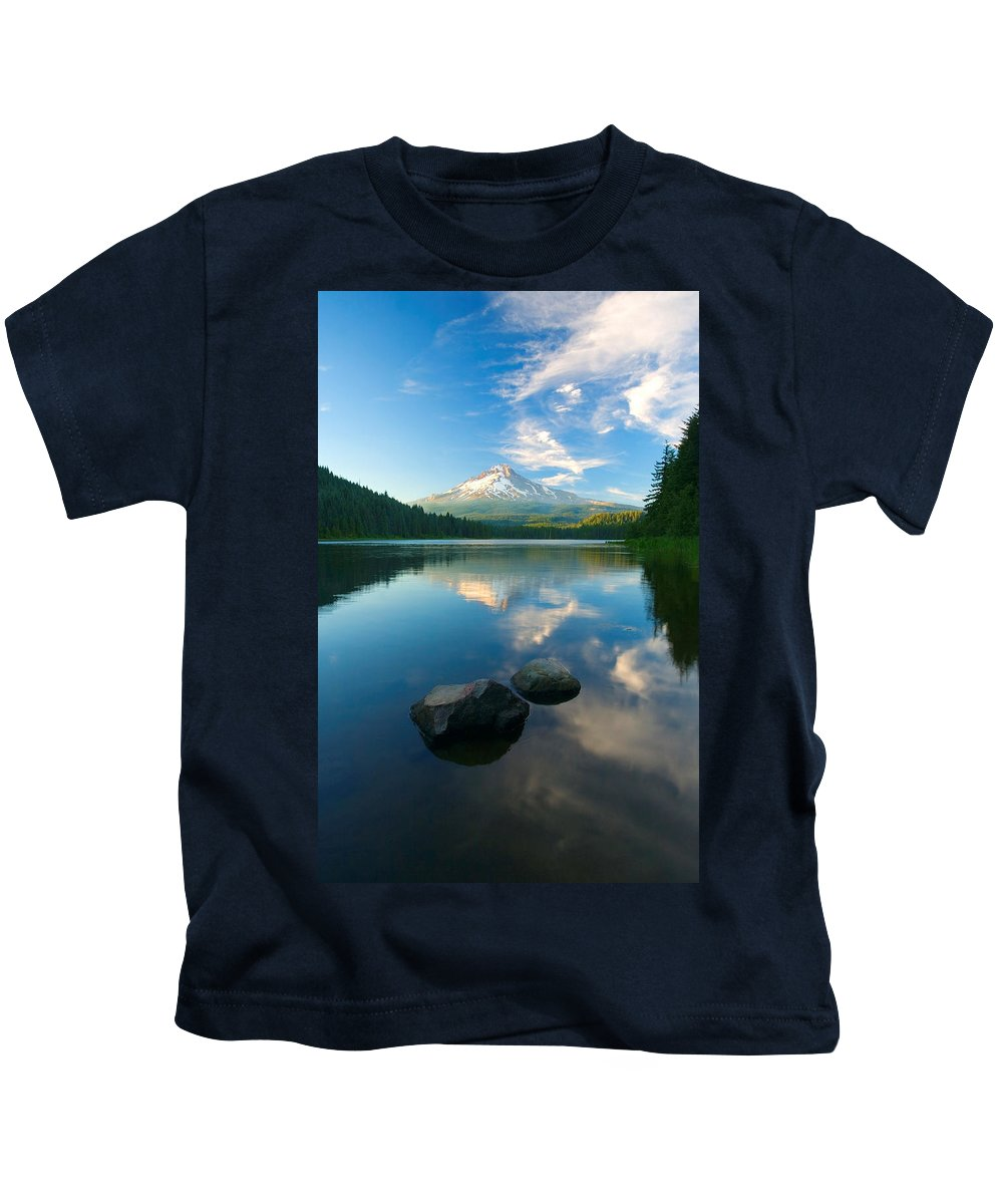 Mt. Hood Kids T-Shirt featuring the photograph Mt. Hood Cirrus Explosion by Mike Dawson