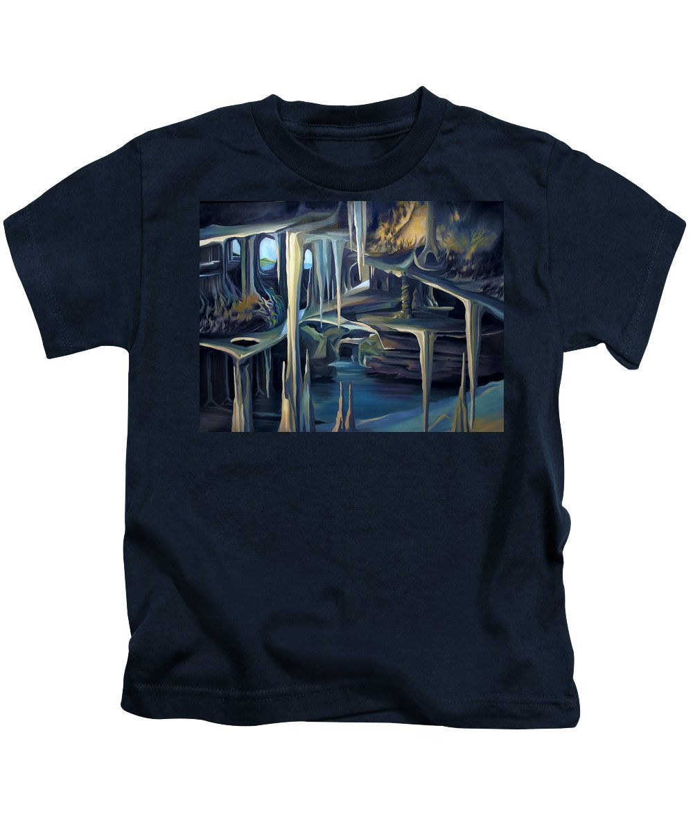 Mural Kids T-Shirt featuring the painting Mural Ice Monks In November by Nancy Griswold