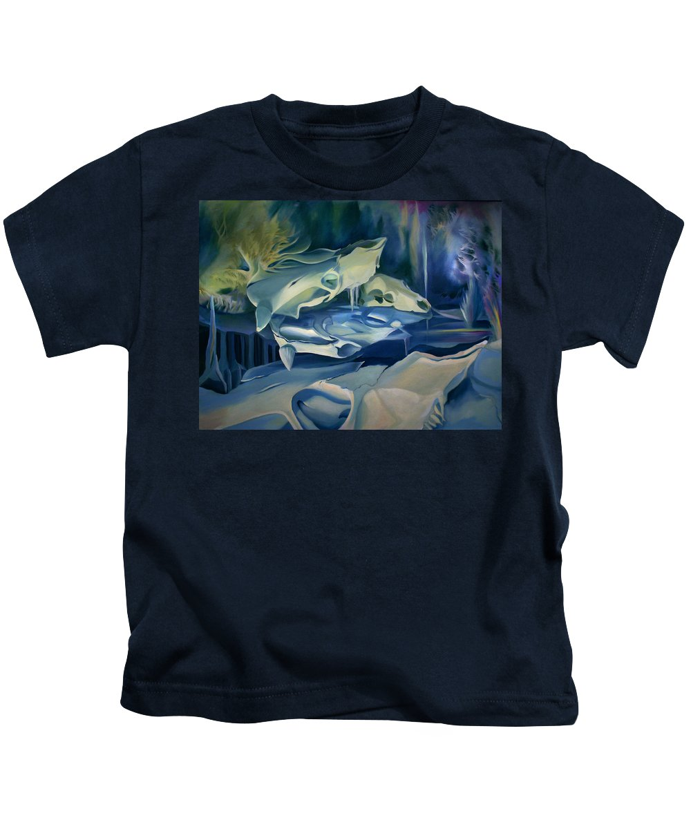 Surreal Kids T-Shirt featuring the painting Mural Skulls Of Lifes Past by Nancy Griswold