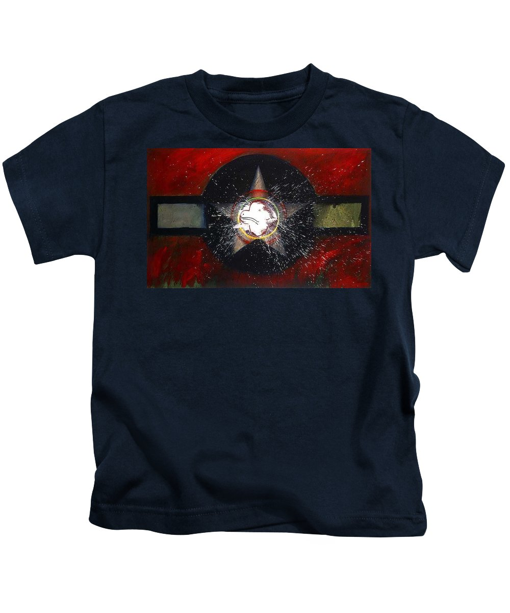 Usaaf Insignia Kids T-Shirt featuring the painting My Indian Red by Charles Stuart