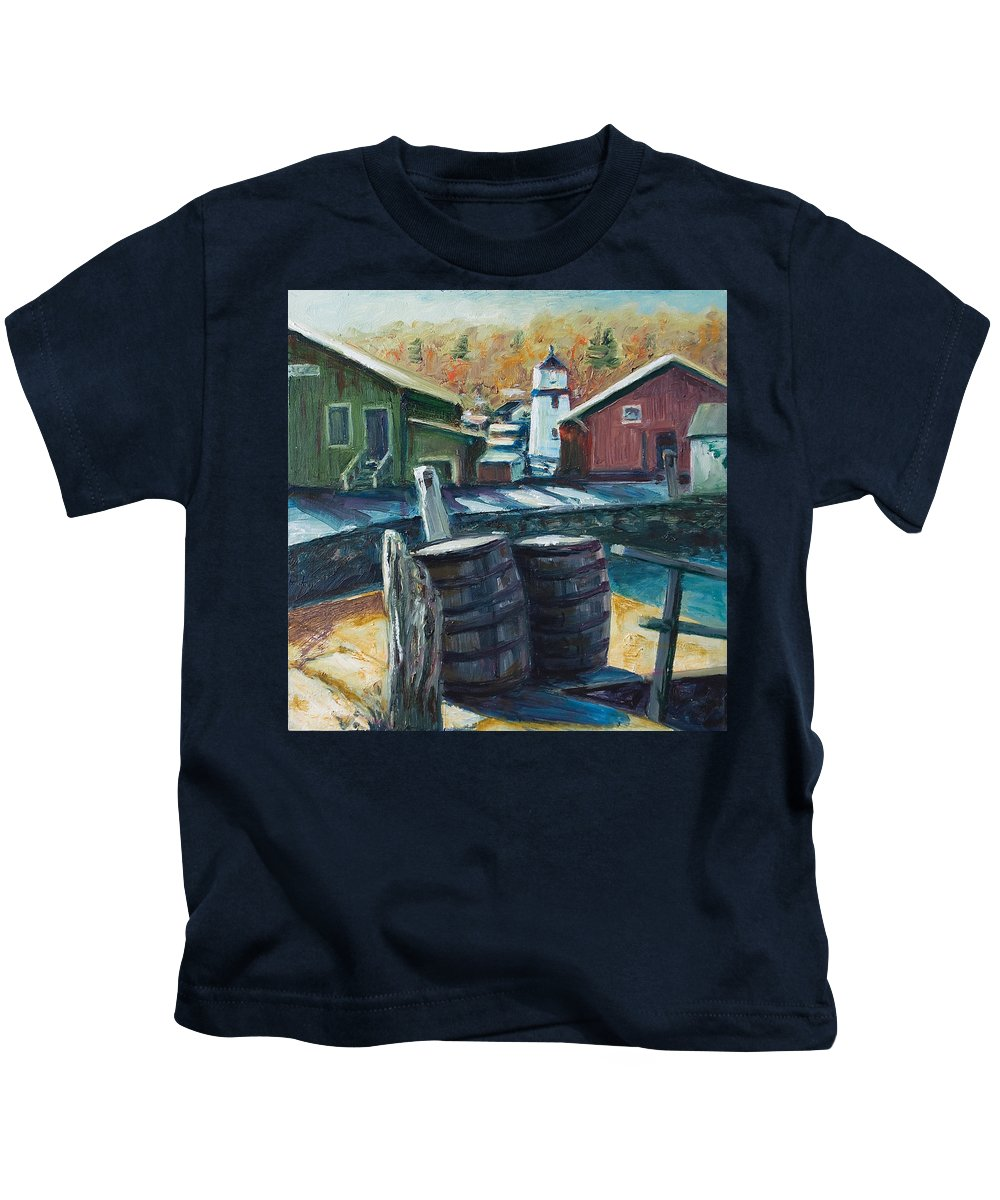 New England Kids T-Shirt featuring the painting Mystic Harbor by Rick Nederlof