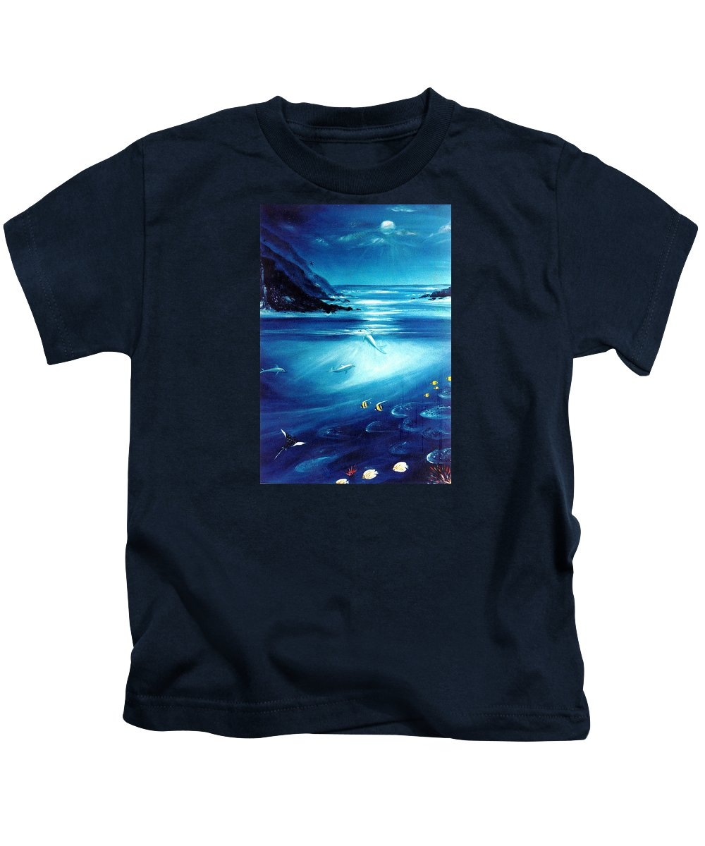 Seascape Kids T-Shirt featuring the painting Mystic Moonlight by Dina Holland