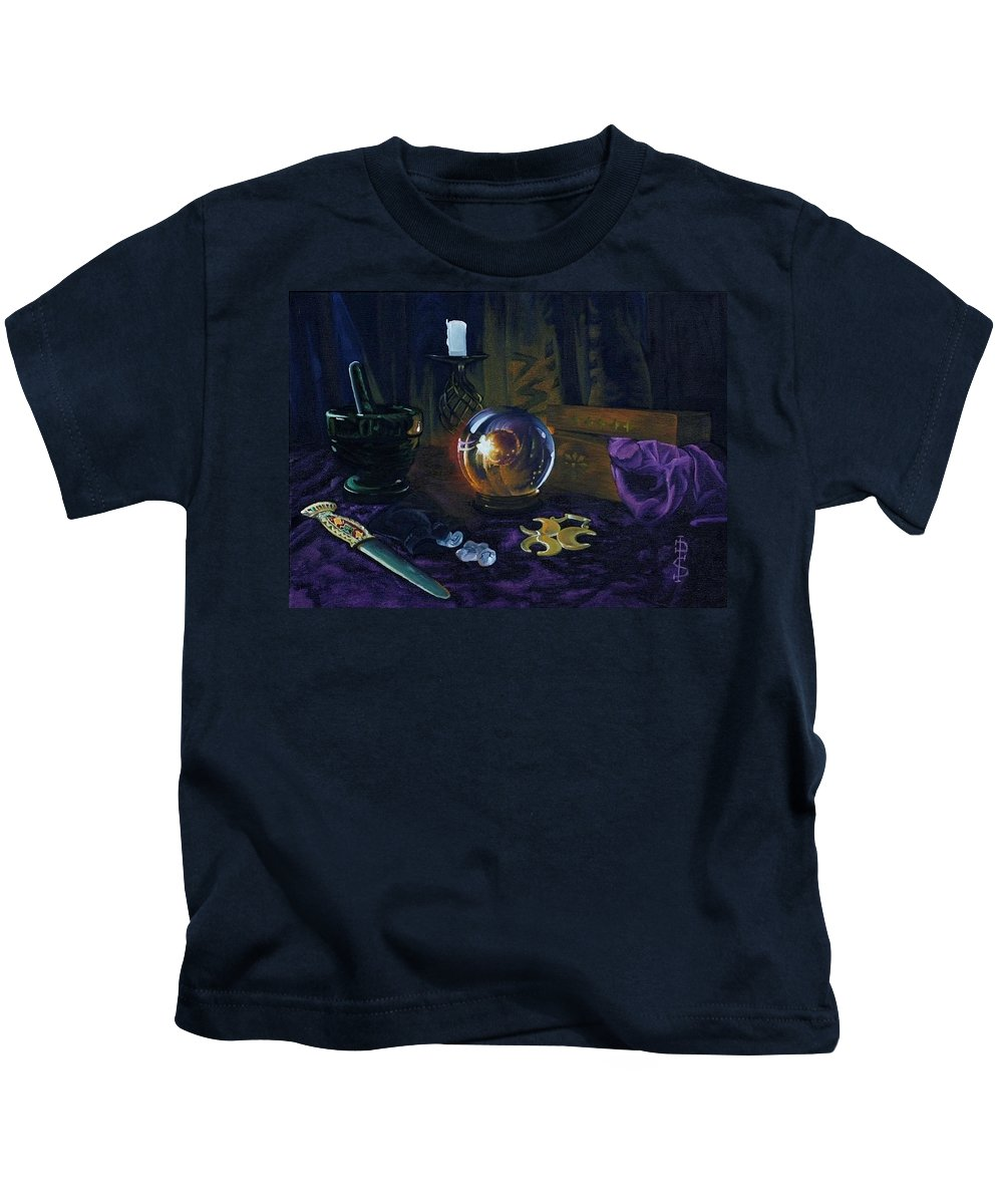 Still Life Mystic Crystal Ball Pestle Mortar Knife Runes Horse Brasspuple Silk Candle Kids T-Shirt featuring the painting Mystic Still Life by Pauline Sharp