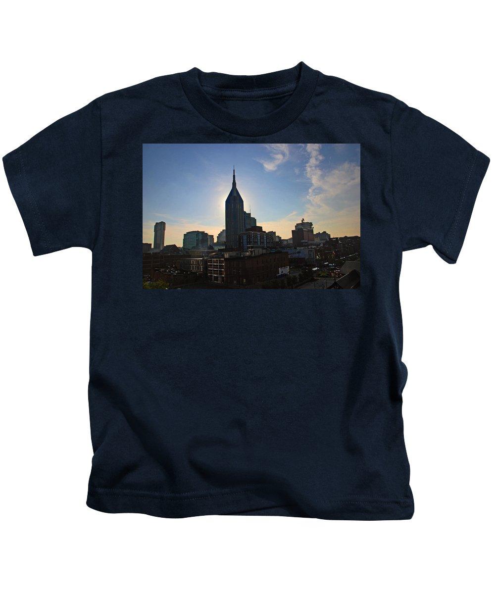 Nashville Photos Kids T-Shirt featuring the photograph Nashville Skyline by Susanne Van Hulst