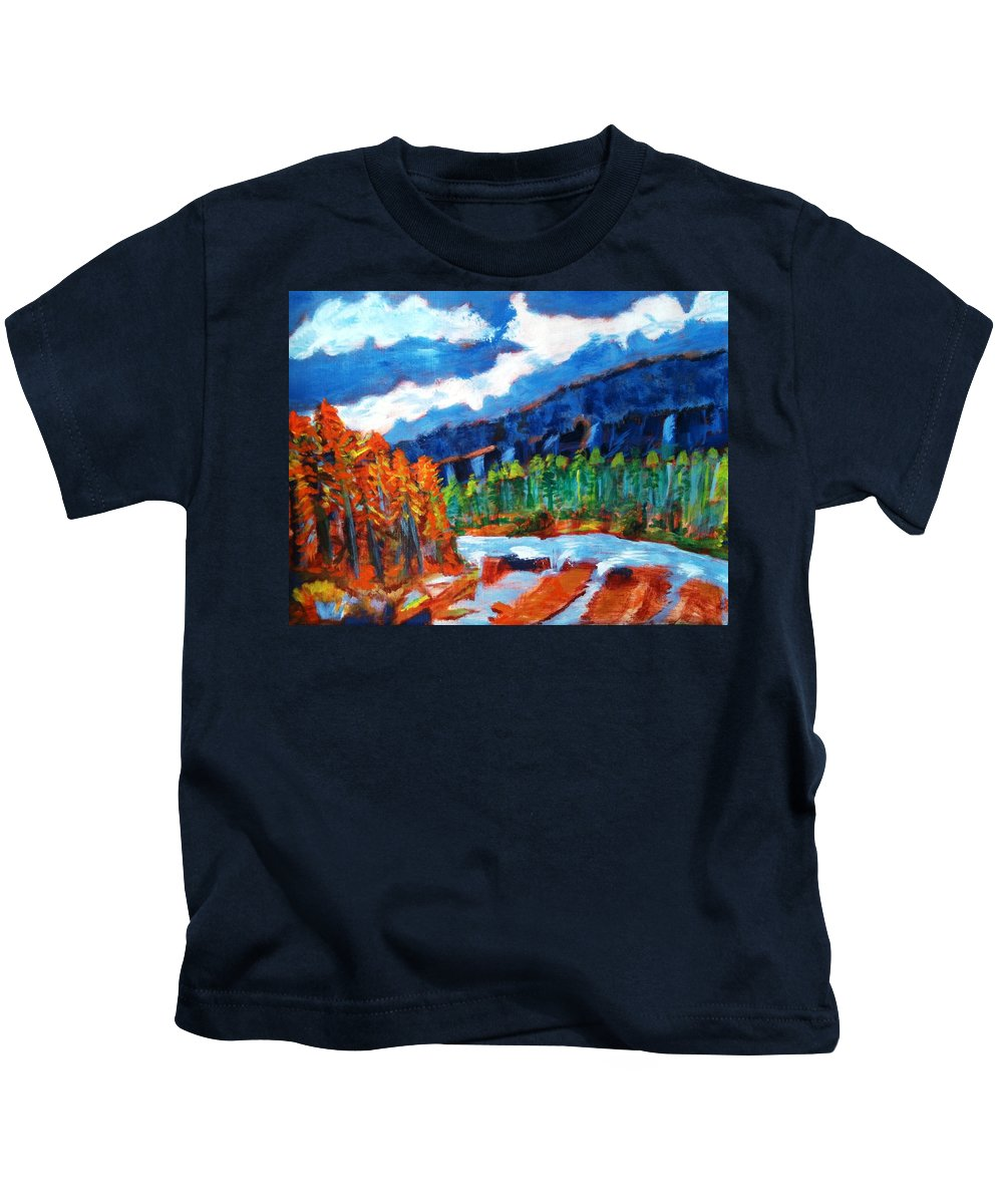 Mountains Kids T-Shirt featuring the painting Naturals by R B