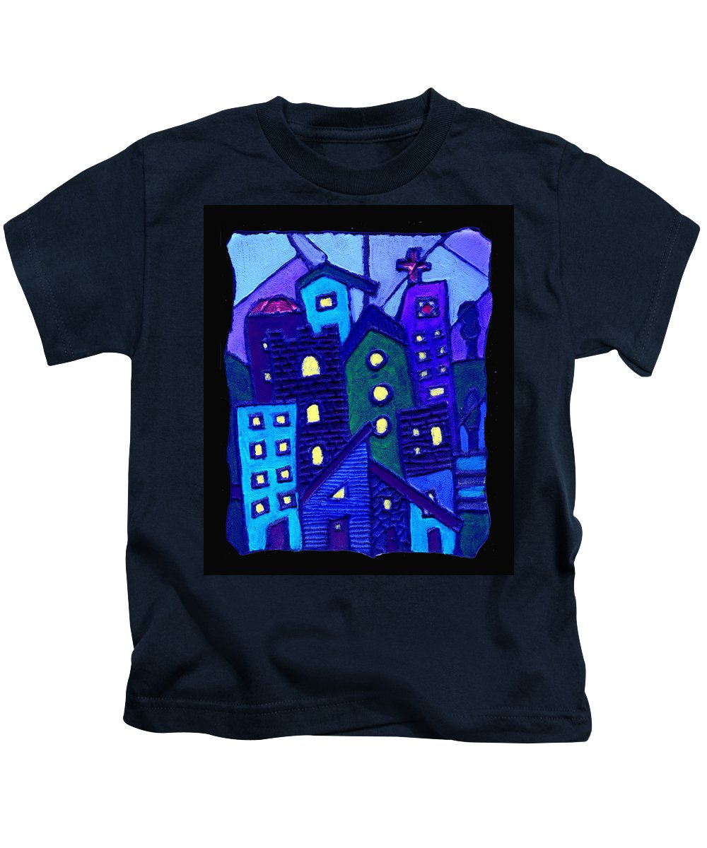 Urban Kids T-Shirt featuring the painting Neighborhood Blues by Wayne Potrafka