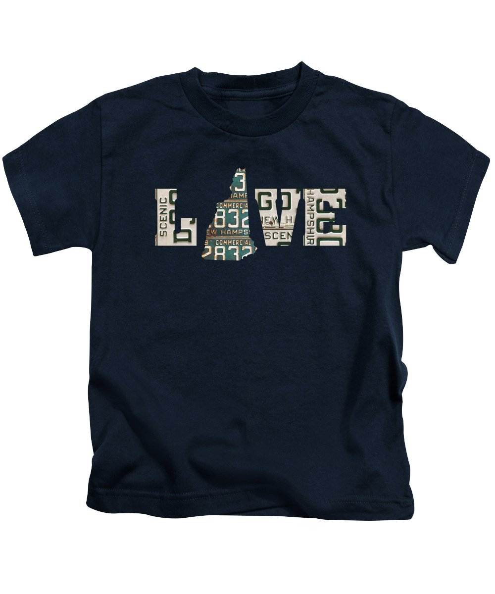 New Hampshire Kids T-Shirt featuring the mixed media New Hampshire State Love Heart License Plates Art Phrase by Design Turnpike