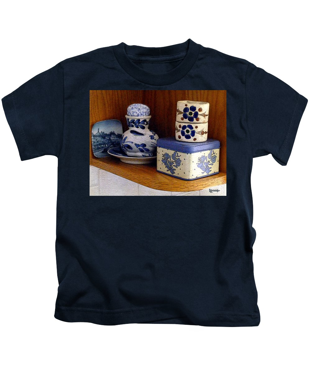 Box Kids T-Shirt featuring the digital art New Shelf Old Memories by RC DeWinter