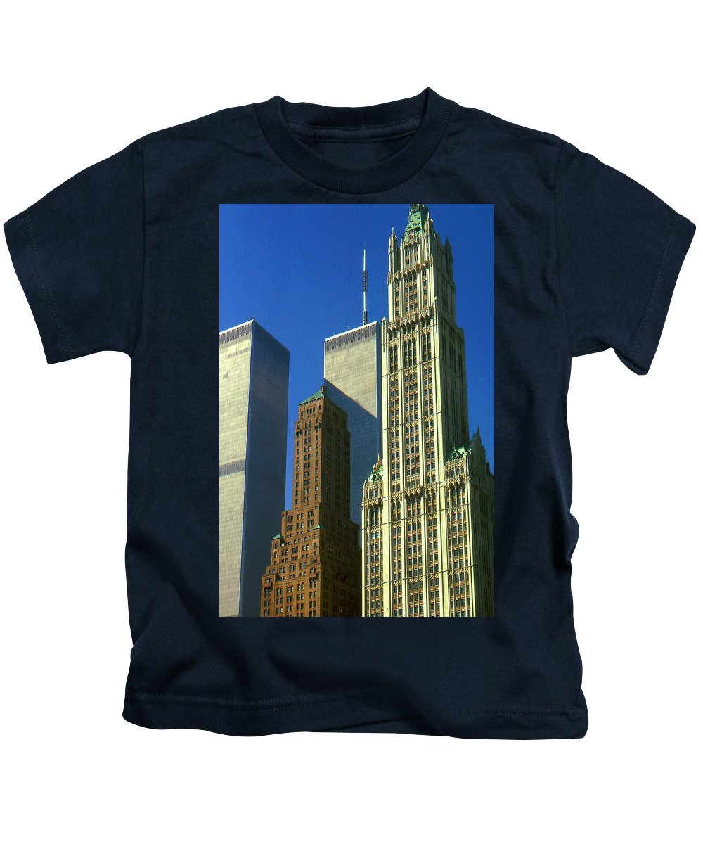 New+york Kids T-Shirt featuring the photograph New York City - Woolworth Building And World Trade Center by Peter Potter