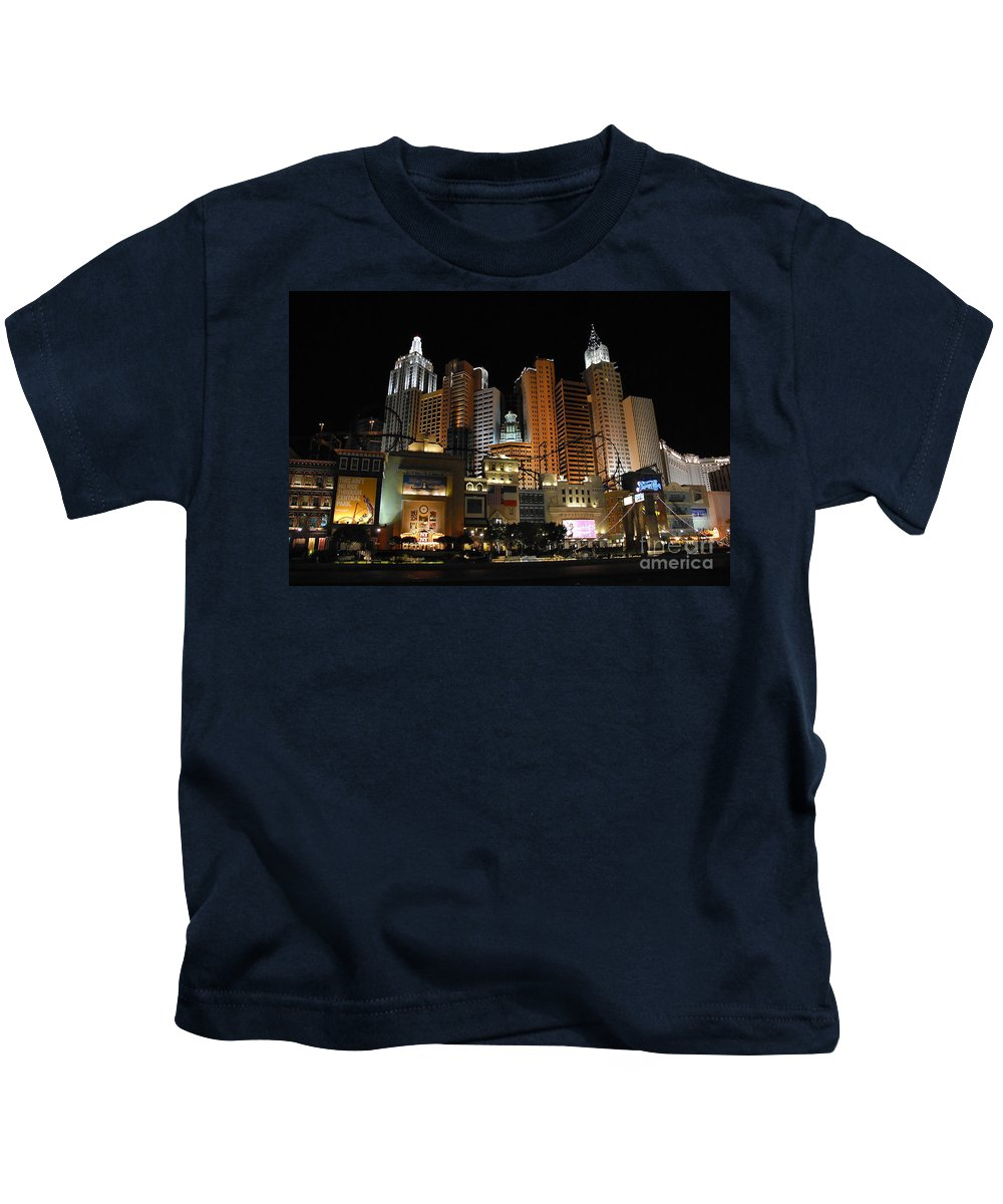 New York Kids T-Shirt featuring the photograph New York Las Vegas by David Lee Thompson