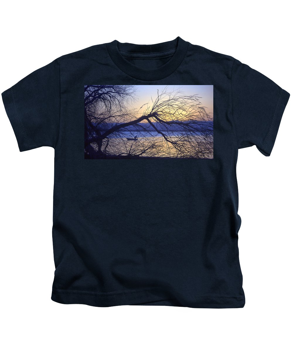 Barr Lake Kids T-Shirt featuring the photograph Night Fishing In Barr Lake Colorado by Merja Waters