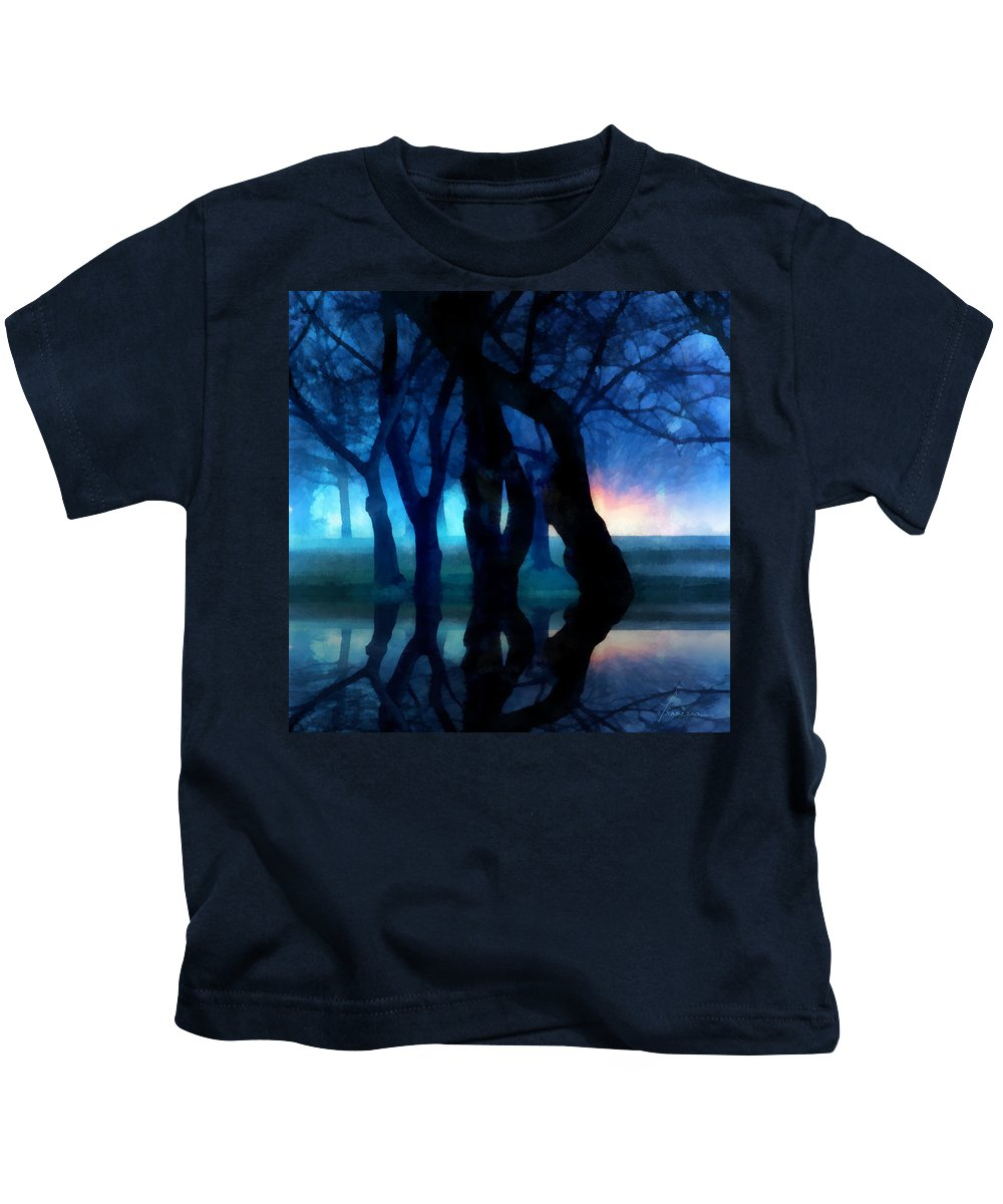 Fog Night Glowing Glow Trees City Park Creepy Dark Evening Silhouette Branches Reflections Kids T-Shirt featuring the digital art Night Fog In A City Park by Francesa Miller