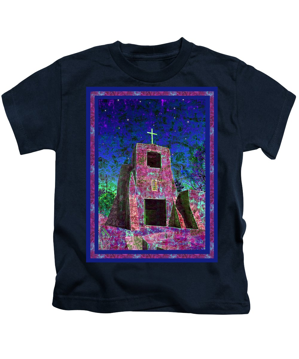 Mission Kids T-Shirt featuring the photograph Night Magic San Miguel Mission by Kurt Van Wagner