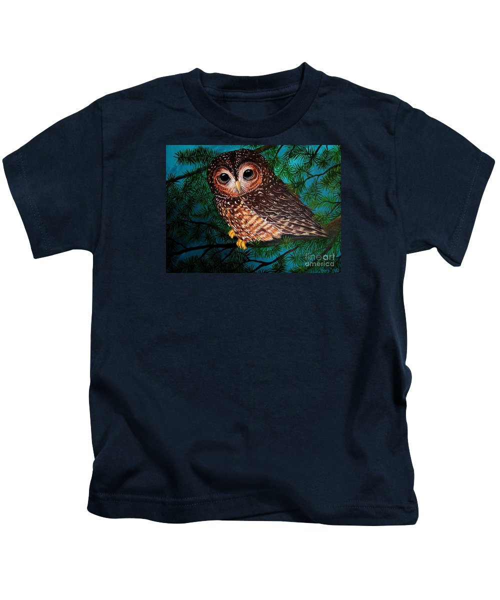Owl Painting Kids T-Shirt featuring the painting Northern Spotted Owl by Nick Gustafson