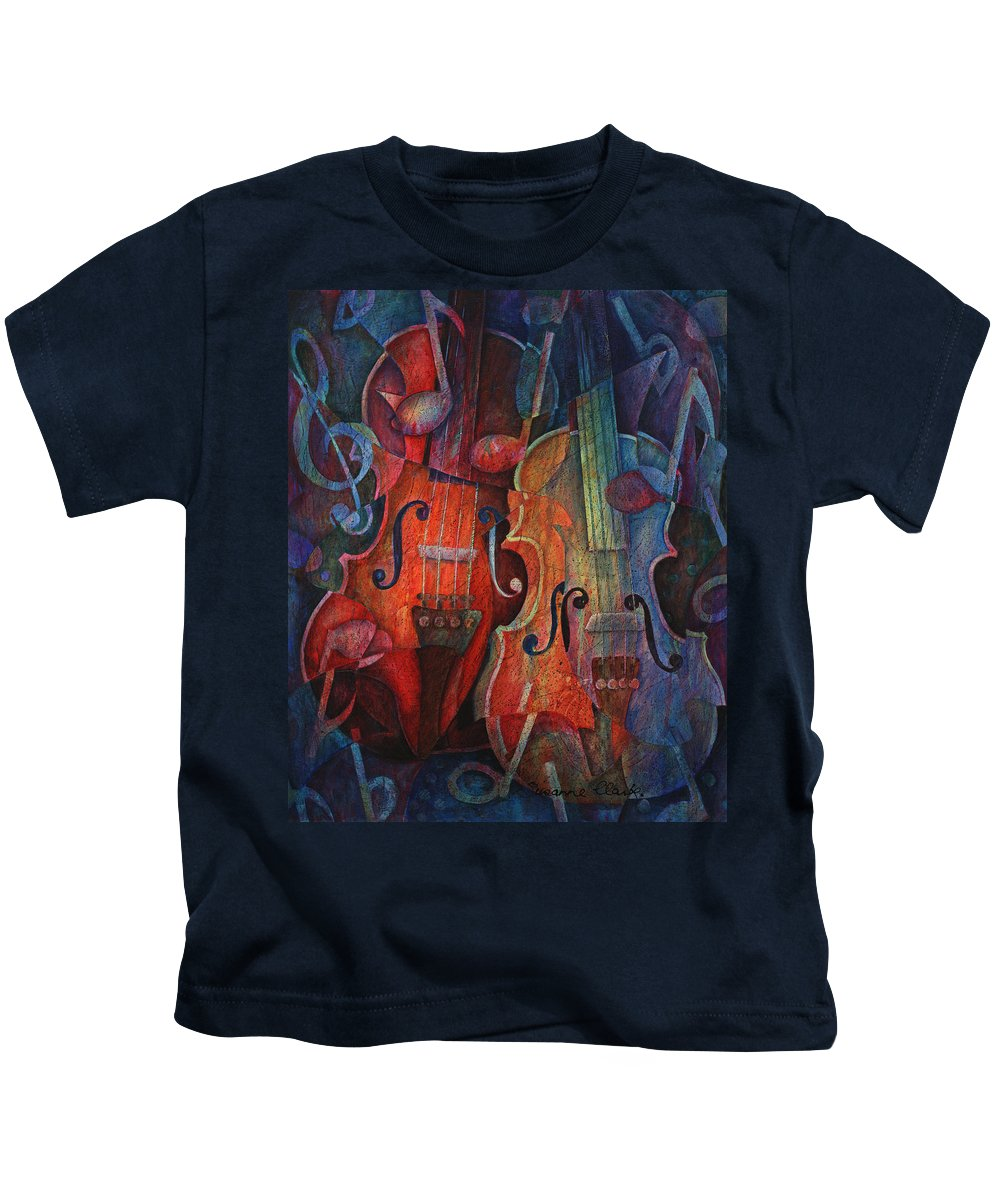 Susanne Clark Kids T-Shirt featuring the painting Noteworthy - A Viola Duo by Susanne Clark
