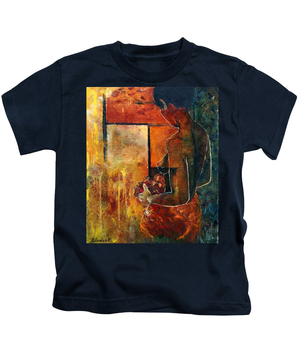 Woman Girl Fashion Nude Kids T-Shirt featuring the painting Nude by Pol Ledent