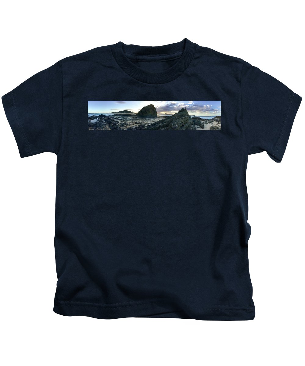 Rock Silhouettes Kids T-Shirt featuring the photograph Ocean Headland Panorama by Anthony Robinson