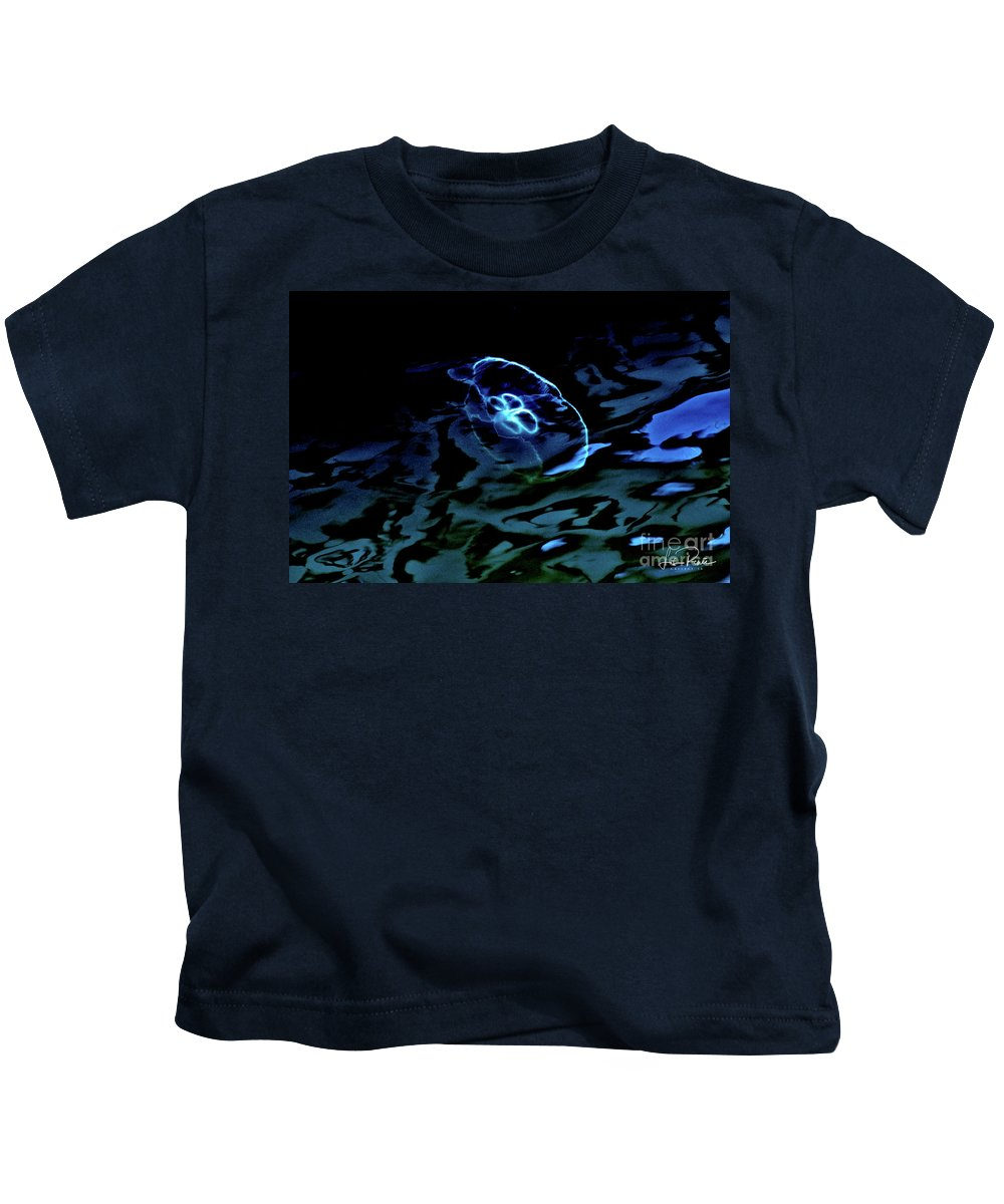 Moon Jelly Fish Kids T-Shirt featuring the photograph Oddysea 3 by Lisa Renee Ludlum