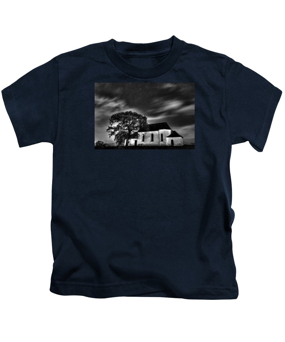 Old Church Kids T-Shirt featuring the photograph Old Church B/w by Michael Damiani