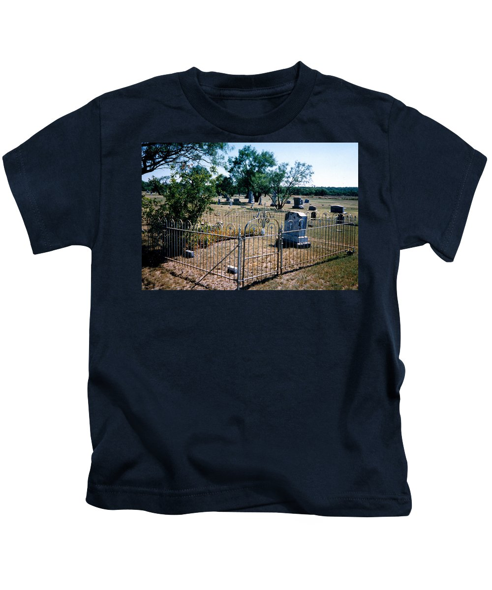 Fence Grave Headstone Stones Kids T-Shirt featuring the photograph Old Grave Site 2 by Cindy New