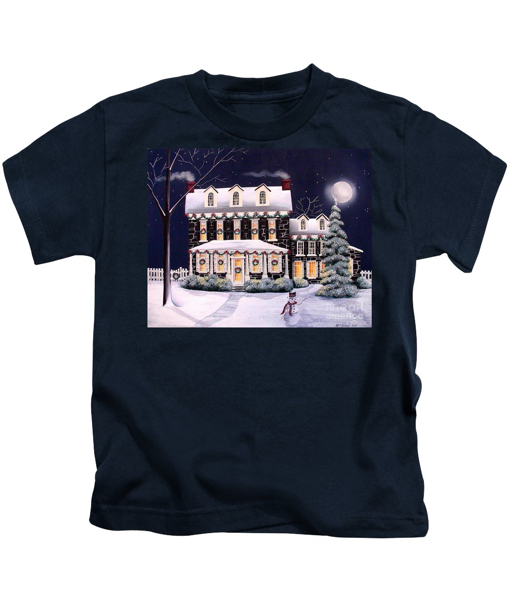 Art Kids T-Shirt featuring the painting On A Cold Winter Evening by Catherine Holman