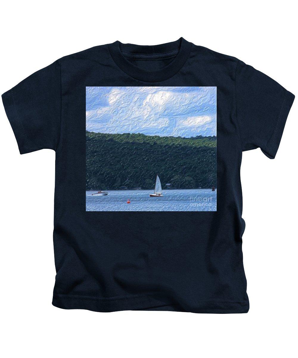 Landscape Kids T-Shirt featuring the photograph On Cayuga Lake by David Lane