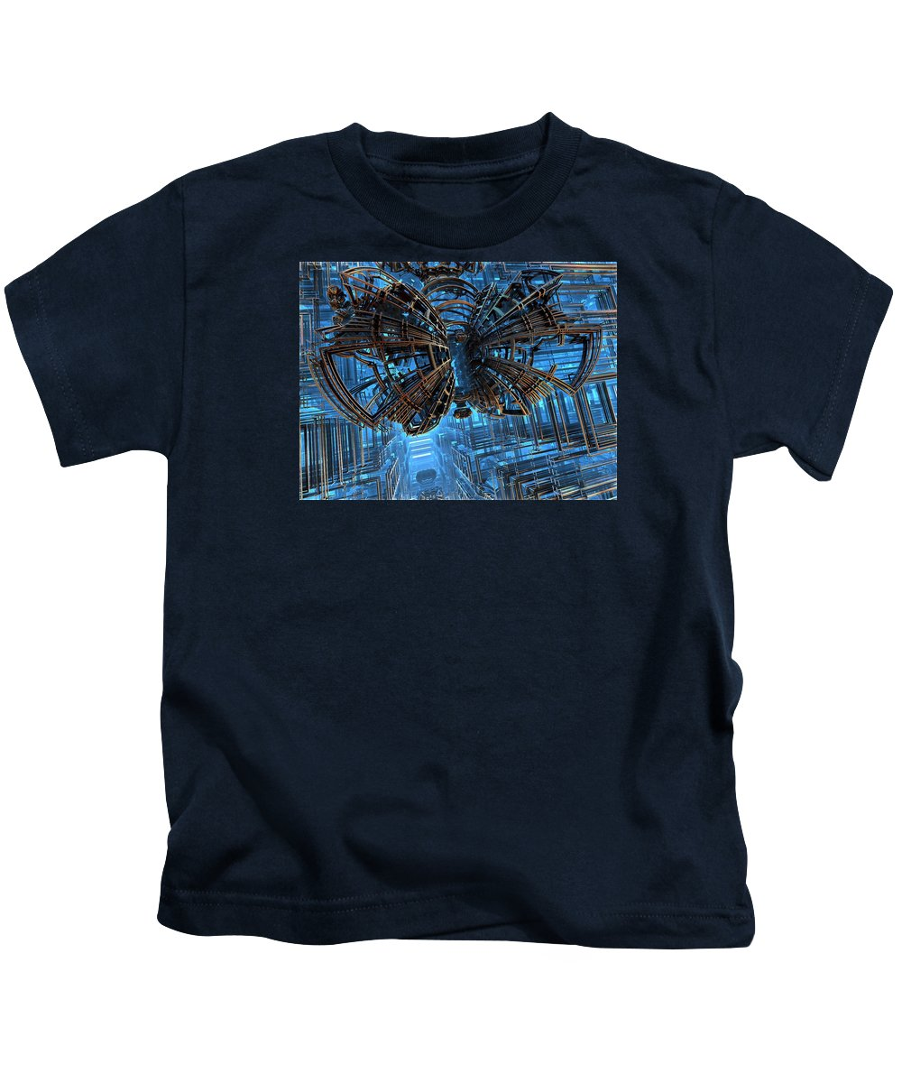 Fractal Kids T-Shirt featuring the digital art On Closer Inspection by Ricky Jarnagin