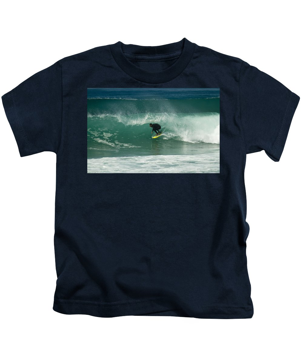Surfer Kids T-Shirt featuring the photograph On Fire In A Tube Part Two by Waterdancer