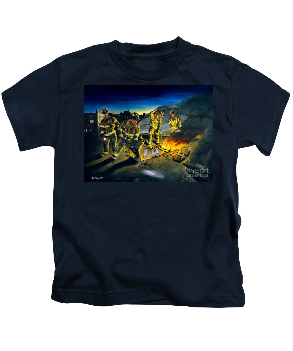 Firefighters In Action Kids T-Shirt featuring the painting Opening Up by Paul Walsh