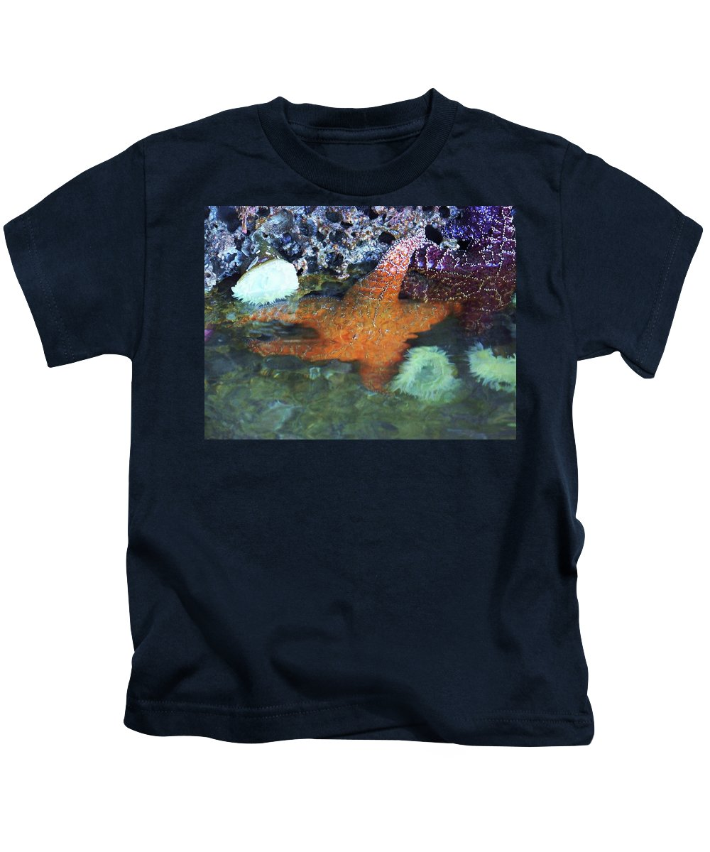 Starfish Kids T-Shirt featuring the photograph Orange Starfish by Julie Rauscher