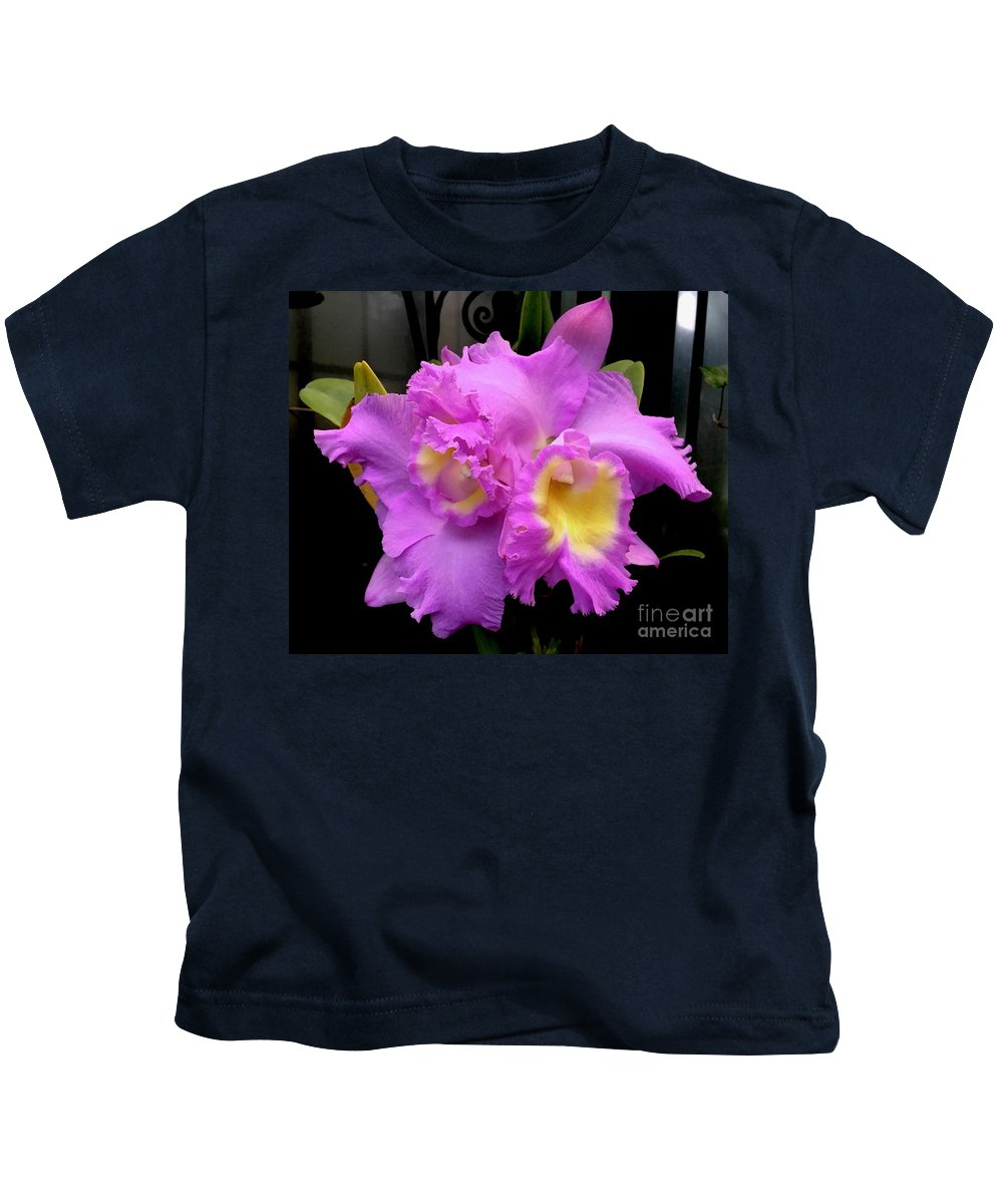 Art Kids T-Shirt featuring the photograph Orchids In Fuchsia by Jeannie Rhode
