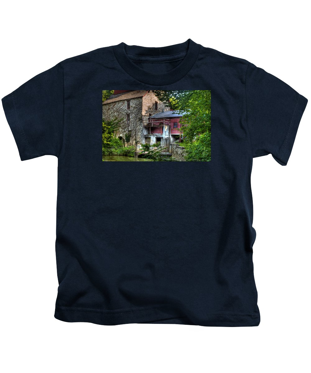 Oxford Mill Kids T-Shirt featuring the photograph Oxford Mill-summertime by Michael Ciskowski