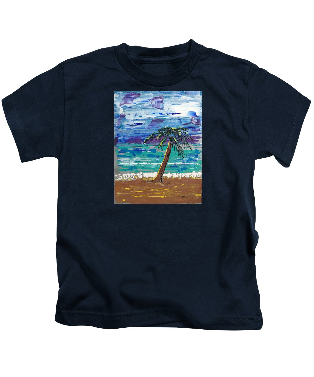 Palm Tree Kids T-Shirt featuring the painting Palm Beach by J R Seymour