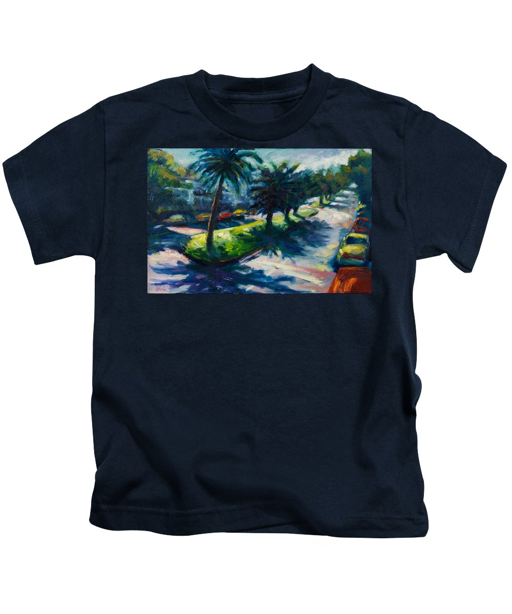 Cityscape Kids T-Shirt featuring the painting Palm Trees by Rick Nederlof