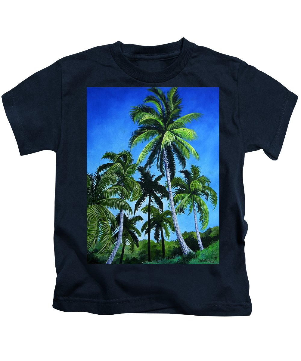 Palms Kids T-Shirt featuring the painting Palm Trees Under A Blue Sky by Juan Alcantara