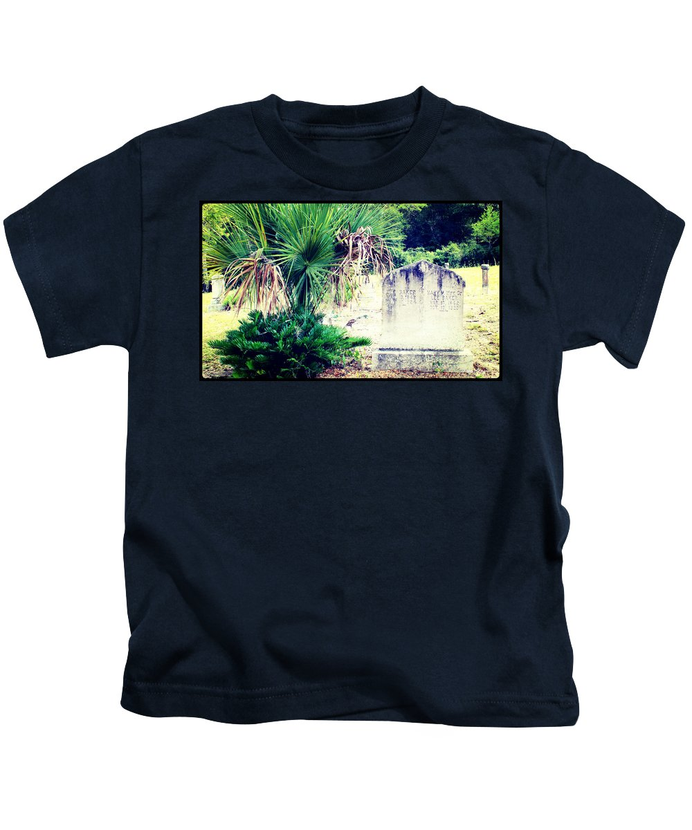 Shannon Kids T-Shirt featuring the photograph Palmetto And Head Stone by Shannon Sears