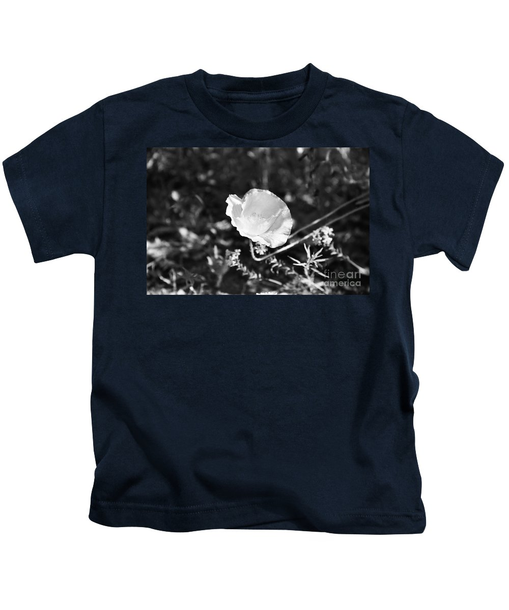Flowers Kids T-Shirt featuring the photograph Paper Flower In B And W by Kathy McClure