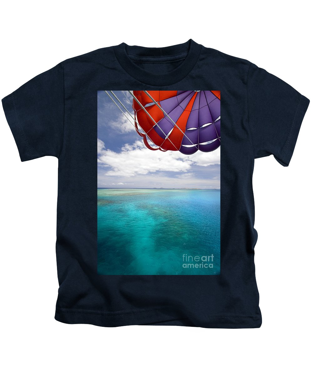 Adrenaline Kids T-Shirt featuring the photograph Parasail Over Fiji by Dave Fleetham - Printscapes