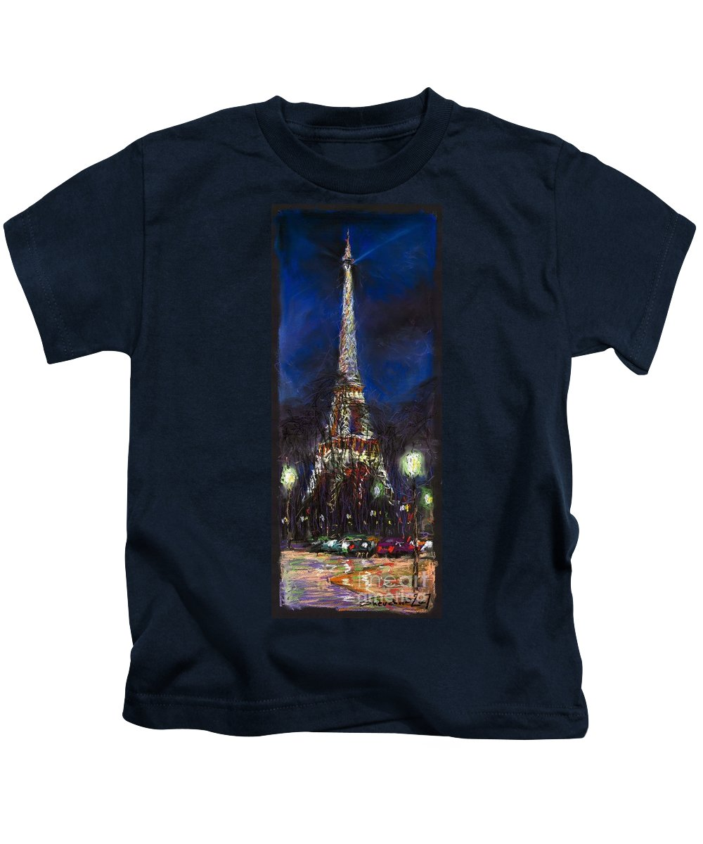 Pastel Kids T-Shirt featuring the painting Paris Tour Eiffel by Yuriy Shevchuk
