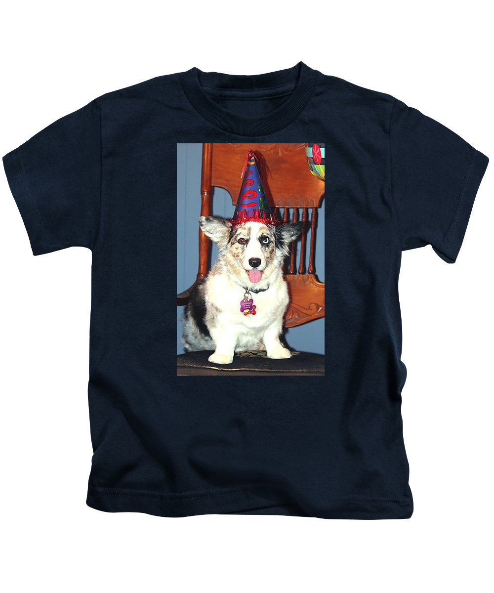 Dog Kids T-Shirt featuring the photograph Party Time Dog by Cathy Donohoue