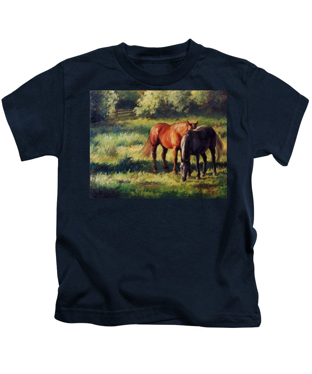 Horse Kids T-Shirt featuring the painting Pasture At Whites Crossing   Horse Painting by Kim Corpany