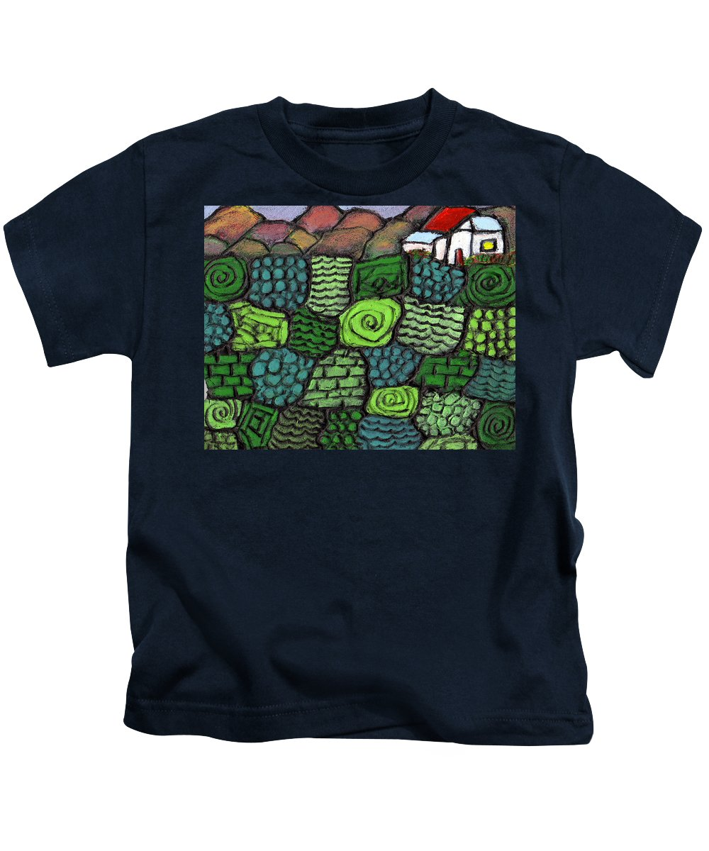 Green Kids T-Shirt featuring the painting Patches Of Green by Wayne Potrafka
